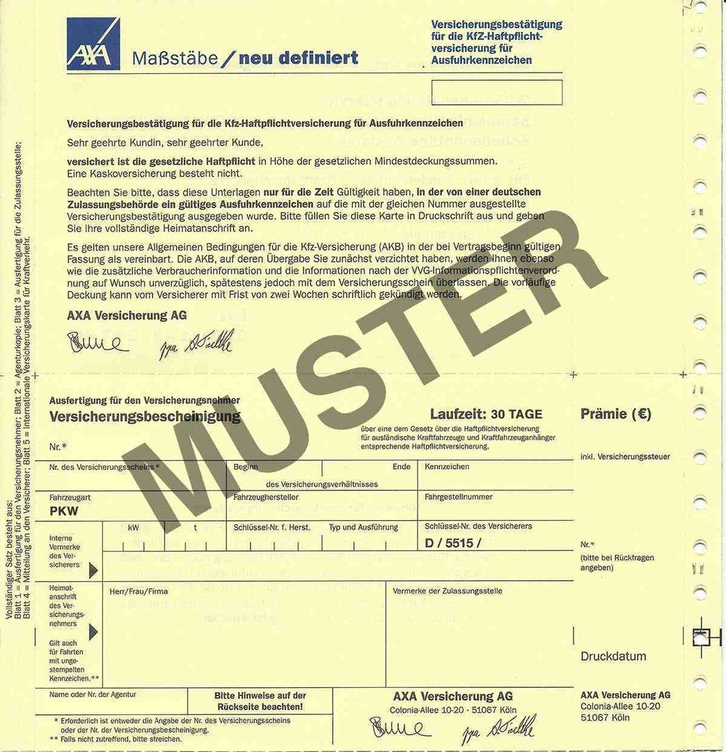 Zollkennzeichen versicherung